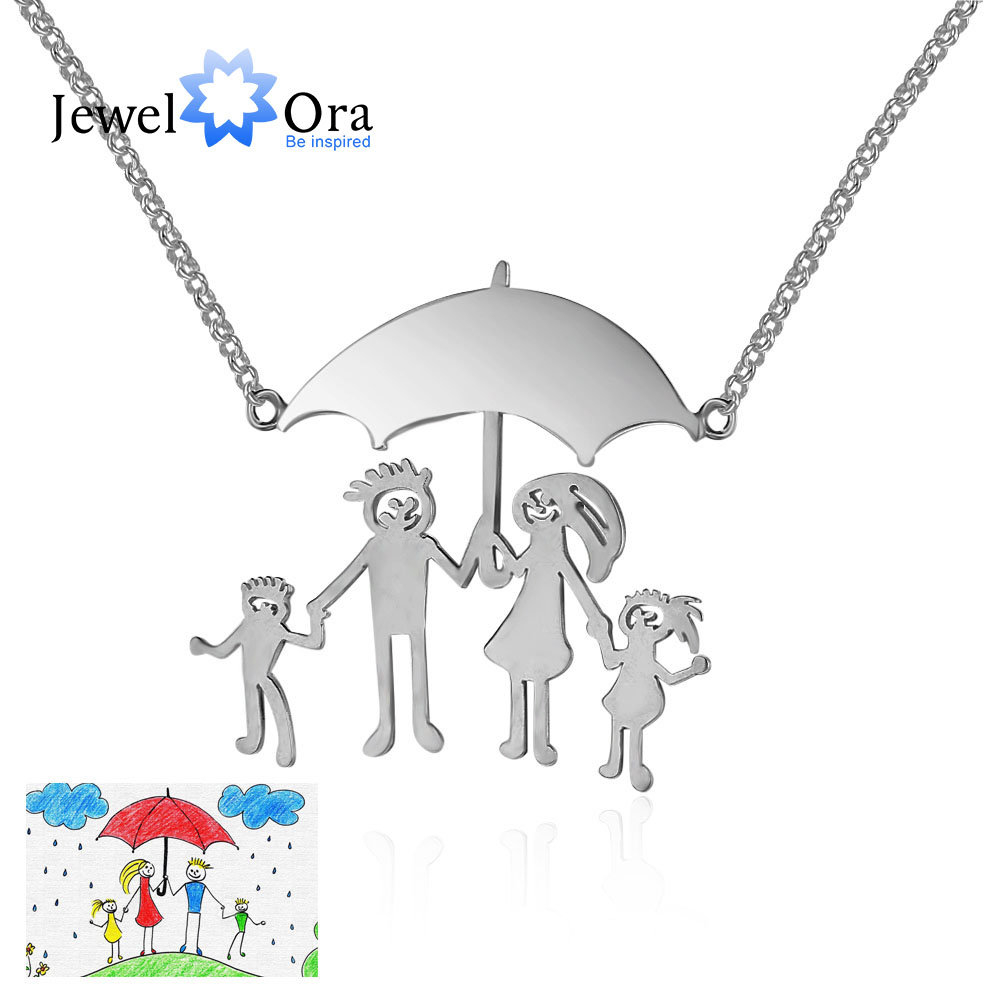 Personalized 925 Sterling Silver Loving Family Drawing Pendant Necklace For Women DIY Handwritten Jewelry (JewelOra NE101687) цена