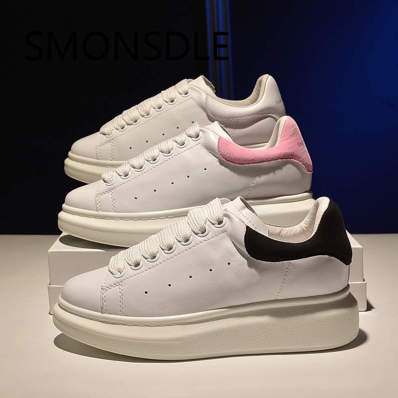 2018 New Spring Autumn Women Flats White Genuine Leather Women Casual Platform Shoes Lace Up Comfortable Sneakers Shoes Woman smile circle spring autumn women shoes casual sneakers for women fashion lace up flat platform shoes thick bottom sneakers