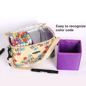Image 2 - 80 120 Large Capacity Marker Pen Case Folding Canvas Handbag Artist Marker Bag Storage Student Stationery Art Supplies Organizer