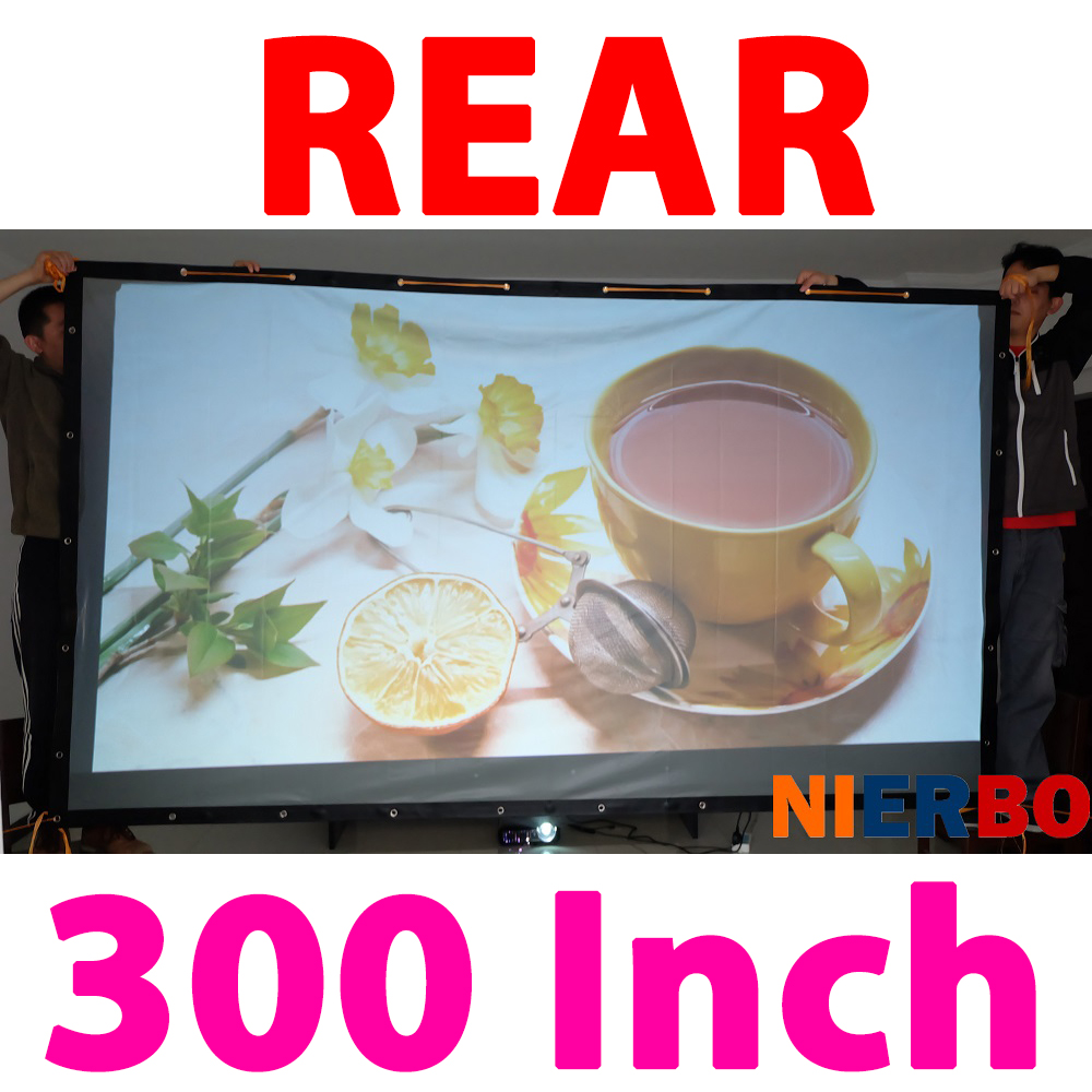 300 Inches 16:9 Portable Folded Fabric Oursides Rear Projection Screen to Projector Pantallas Proyector Curtains Pelicula h60x 2016 everyone gain 60 inches 16 9 projector hd screen portable folded pantalla proyector with frame convenient to carry