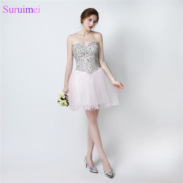Light Pink Prom Dresses Short Mini Tulle Beaded Cheap Prom Dress ...