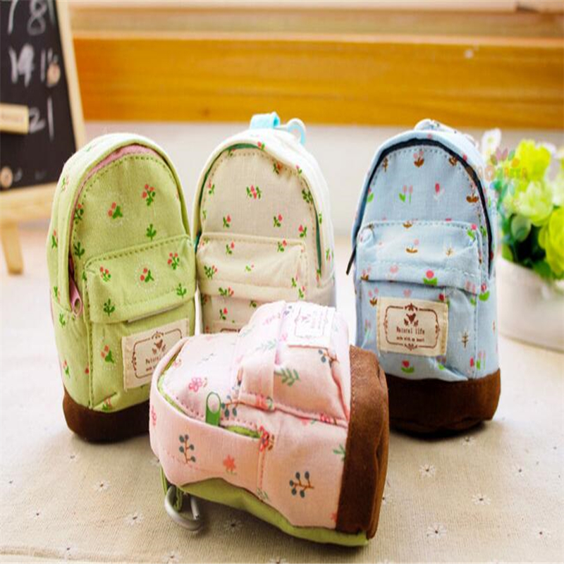Cute Mini Linen Backpack Keychain Small Bag Design Keyrings Fresh Color Coin Purse For Woman Bag Pendant Children Toy 2017