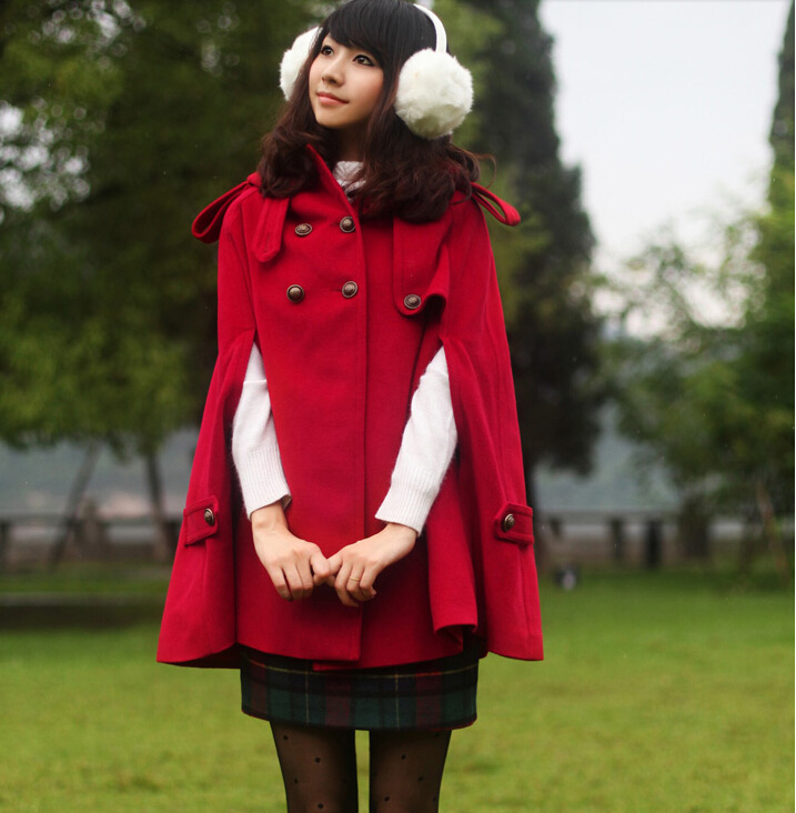 Clearance Double breasted wool outerwear wool coat female cloak cape winter women's fashion sweet winter clothes