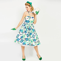 Sisjuly Vintage Dresses 1950s 60s Summer Mid Calf Women 2017 Green Floral Print Halter Strapless Sexy