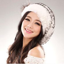 2016Hot fashion excellent rex rabbit fur hat Genuine Women winter cap high quality beret hat