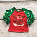 mery christmas baby girls gold dot three quater cotton sante green red boutique cute topT-shirt fall reglans clothes ruffles