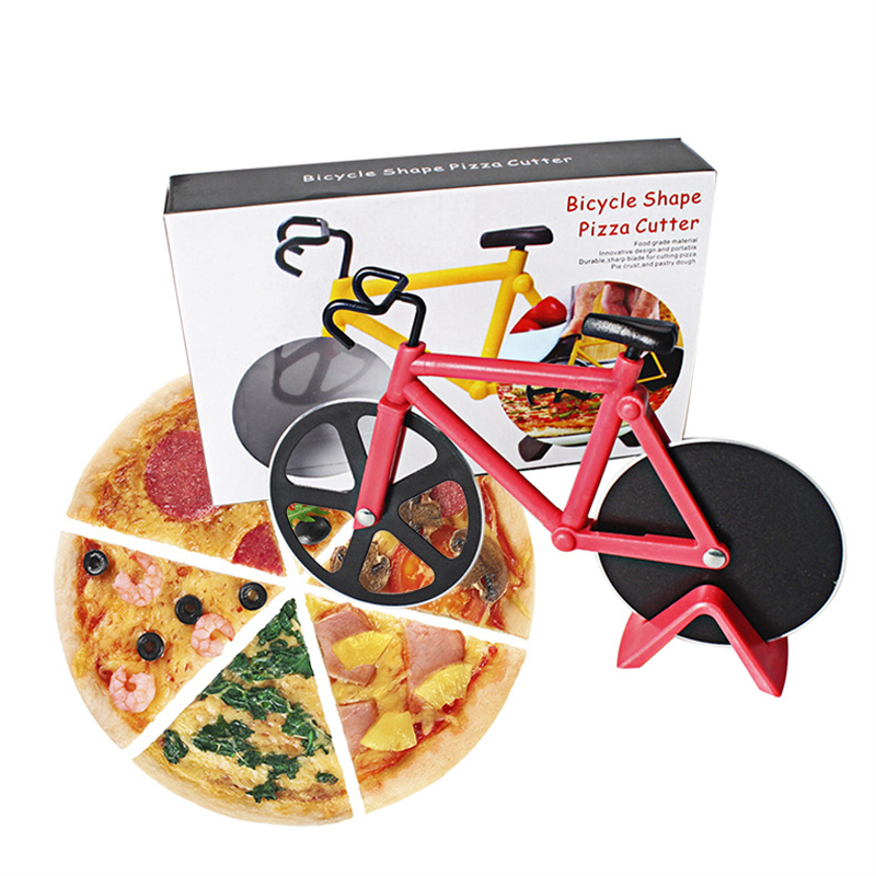 Color boxed Kitchenware Stainless steel bicycle pizza cutter The pie knife creative hob Pizza wheel Baking tools AB397