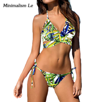 Minimalism Le Push Up Bikini 2017 New Patchwork Print Women Swimwear Swimsuit Sexy Bandage Cross Biquini
