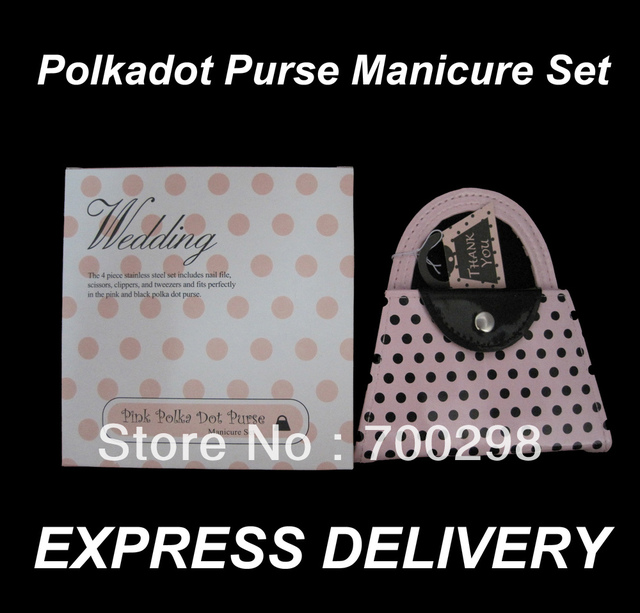 100sets/lot Pink Polka Dot Purse Manicure Set Pedicure Wedding Favor Guest Gift, Free Shipping