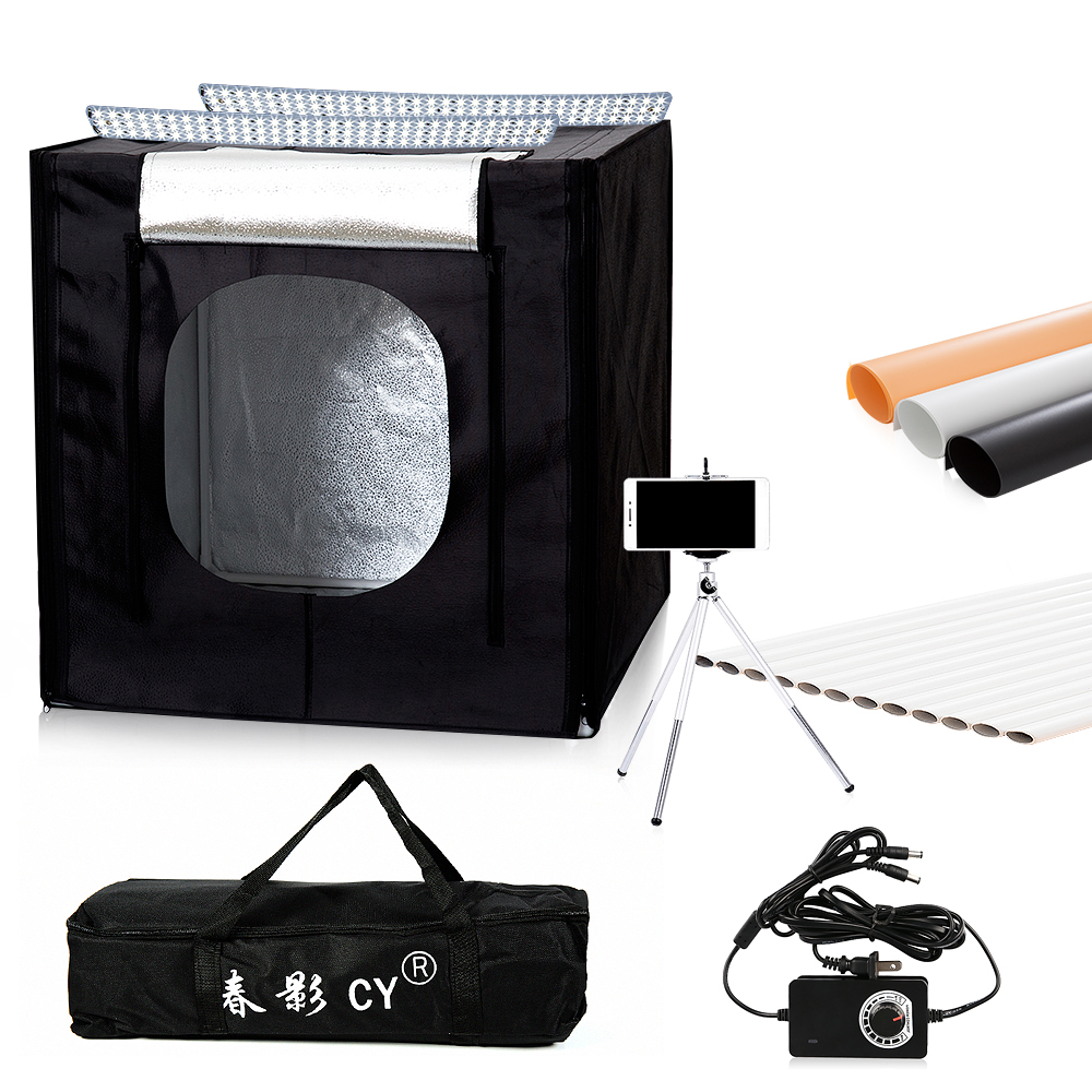 CY 60*60cm LED Photo Studio light tent Tabletop Shooting SoftBox lightbox+Portable Bag+Dimmer switch AC adapter for Jewelry Toys