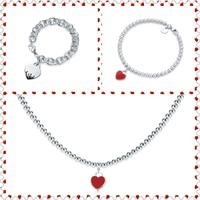SHINETUNG 1:1 S925 Sterling Silver Genuine TIFF Black Red Heart Shaped Pendant Trendy Necklace Women grace Fine Bracelet Jewelry