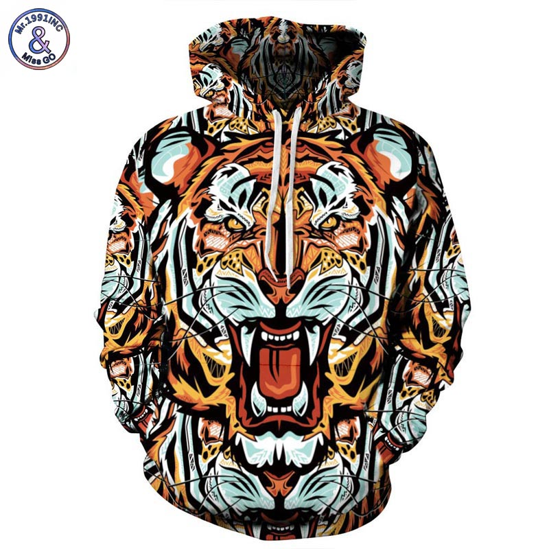Mr 1991INC Fashion Men Women Brand Clothing Hooded Hoodies Pop Art Print Tiger 3d Sweatshirt Men