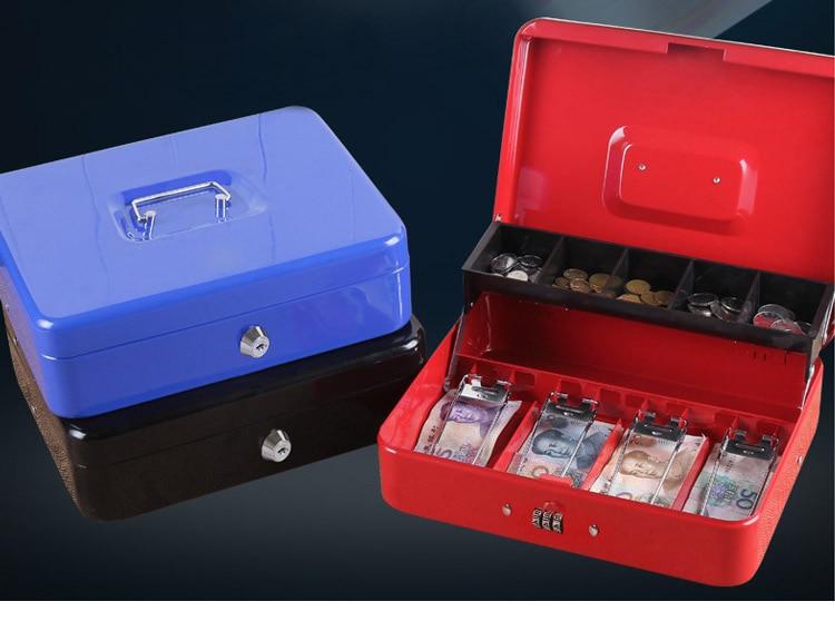 Portable Safes Cash Box Money Drawer Key Lock Password Lock Safe Lock Tiered Tray Security Storage Box Size 30 x 24 x 9cm (1)