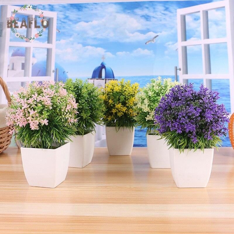 1 шт. сельских Пластик трава горшечных растений набор искусственные цветы Карликовые деревья горшок Свадебный дом Декоративные 5 цветов