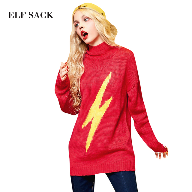 Elf SACK yp winter color block turtleneck pullover jacquard sweater female medium-long