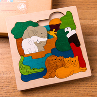 Multilayer Puzzle Classic Child Intelligence Wooden Jigsaw Puzzle 3D Pieces Baby Kids Animals Cartoons Story Educational
