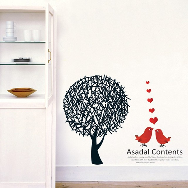 Creative Fashion Living Room Bedroom Background Decorative Painting Wall Stickers Combination Love Birds English