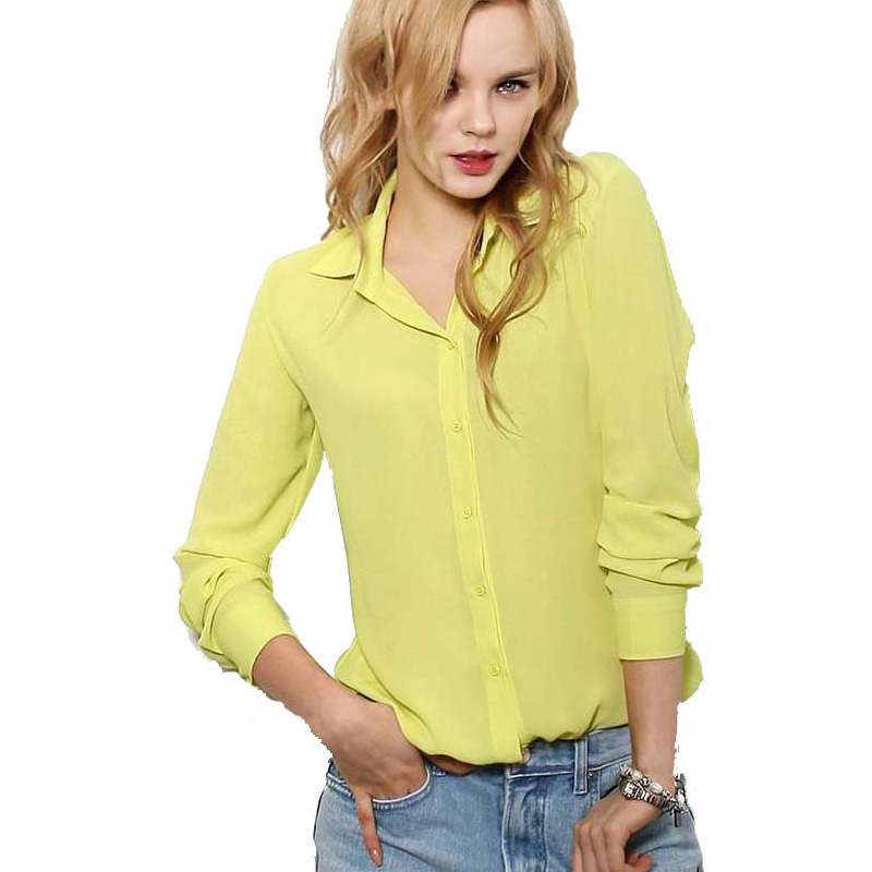 5 Colors Work Wear 2016 Women Shirt Chiffon Blusas Femininas Tops Elegant Ladies Formal Office Blouse Plus Size XXL