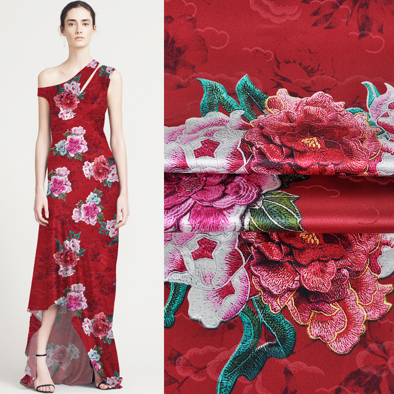 114CM Wide 19MM Blue Pink Floral Jacquard Stretch Red Silk Satin Fabric Good for Summer Dress Skirt Shirt Pants JH141114CM Wide 19MM Blue Pink Floral Jacquard Stretch Red Silk Satin Fabric Good for Summer Dress Skirt Shirt Pants JH141