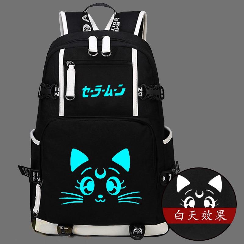 2017 New Sailor Moon Luna Luminous Backpack Anime School bag Bookbags Shoulder Laptop Travel Bags Student