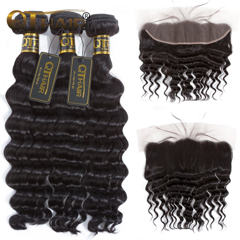 QT Hair Loose Deep Wave Bundles With Frontal Peruvian Hair 3 Bundles With Frontal Non-remy Human Hair Bundles With Frontal ...