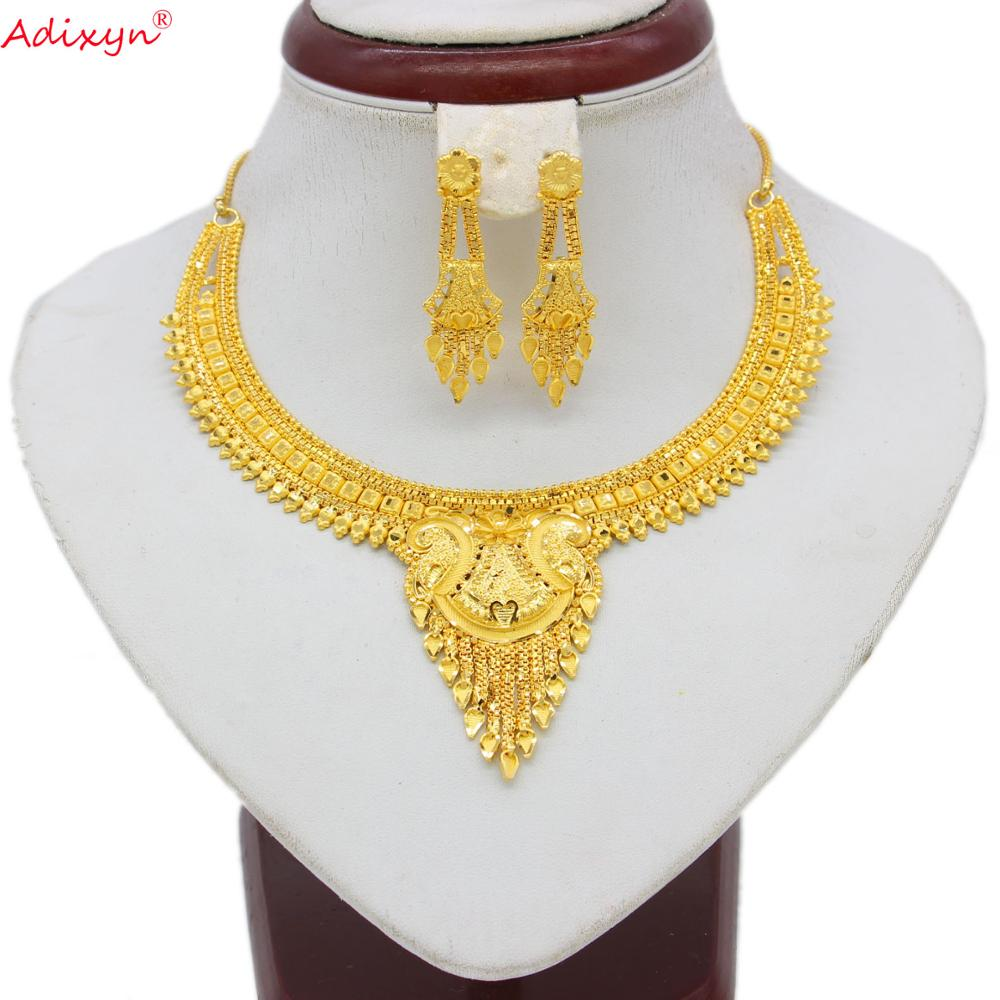 Adixyn Gold Color/Copper India Jewelry Set Tassles Necklace/Earrings Trendy Arab/Ethiopian Jewelry For Women Girls Gifts N060813(China)