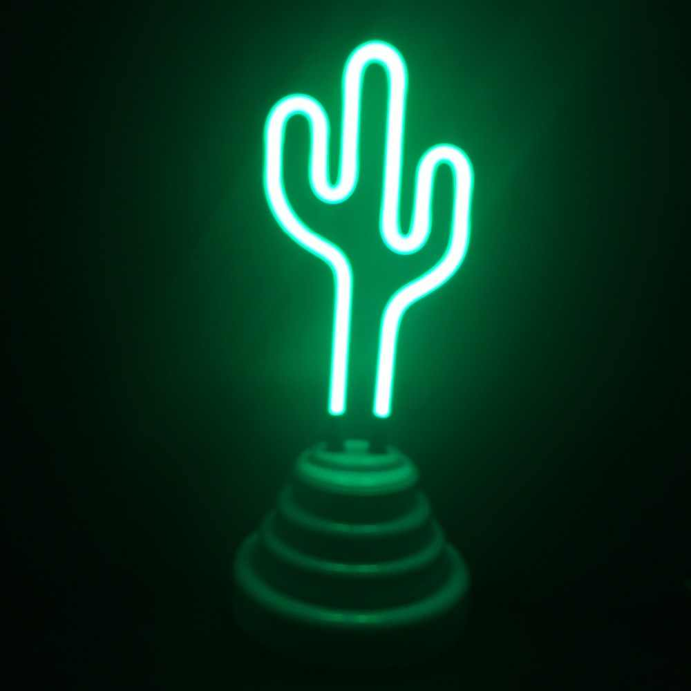 Neon Lamp Led Flamingo Cactus Tube Decoration Neon Light Party Wedding Holiday Home Adorn Night Lamp Usb Cable Powered Table Luminaire