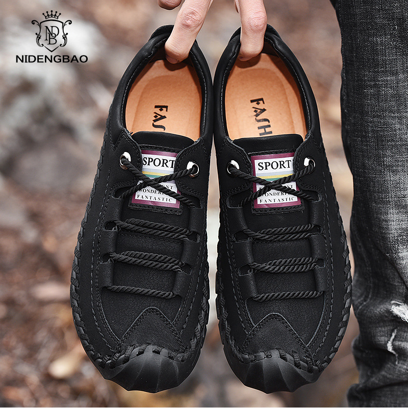 Cow Leather Men Casual Shoes Outdoor Lace Up Hand Made Men Shoes Large Size 38-45 Flats Men Slip On Lazy Shoes Zapatos Hombre