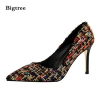 Bigtree Sexy Pumps Women Shoes High Heel 10cm Fashion Spell Color Wool Shoes Fine With High