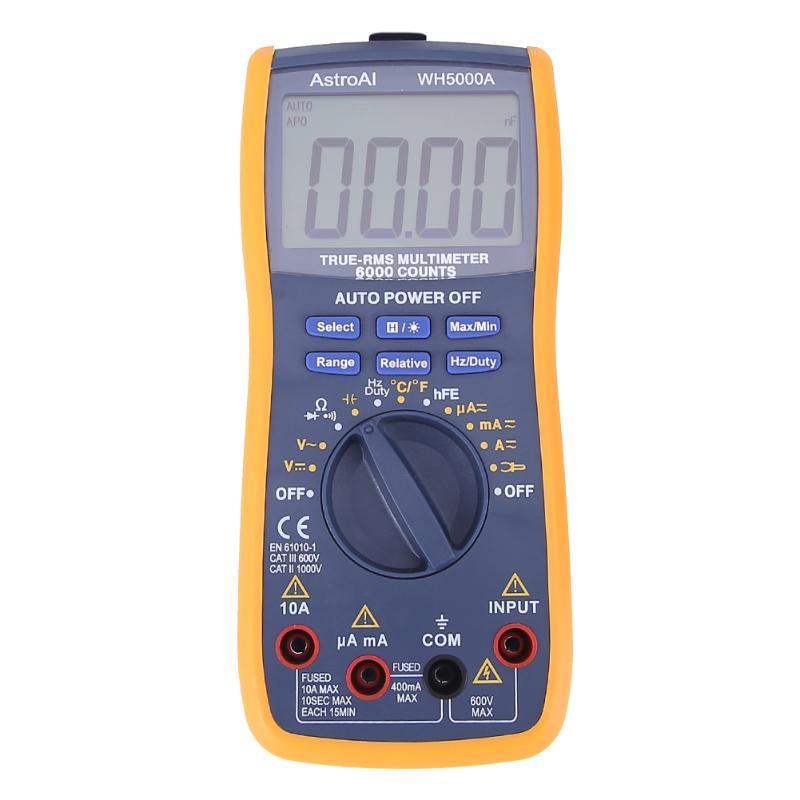 Wh5000a магнит цифровой мультиметр 5999 рассчитывает Авто диапазон с Подсветка магнит повесить AC DC Амперметр Вольтметр Ом метр тестер