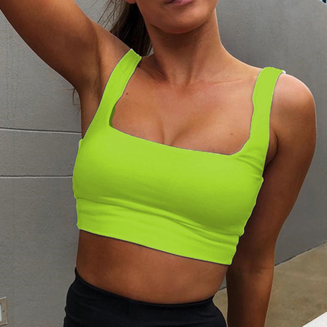 d0a2c5d569c Square collar strap tank top neon green sexy sleeveless crop tops women  streetwear korean vest summer fashion slim tee