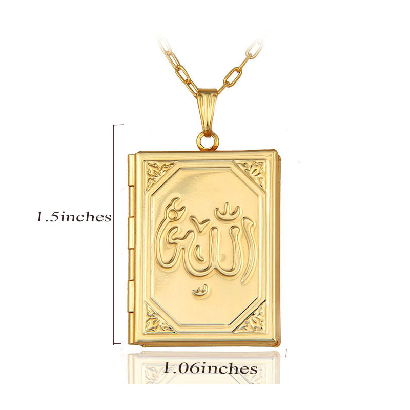Box Necklaces for Women/Girl,Allah Pendant Gold Color Muslim Islamic Jewelry Gift 1
