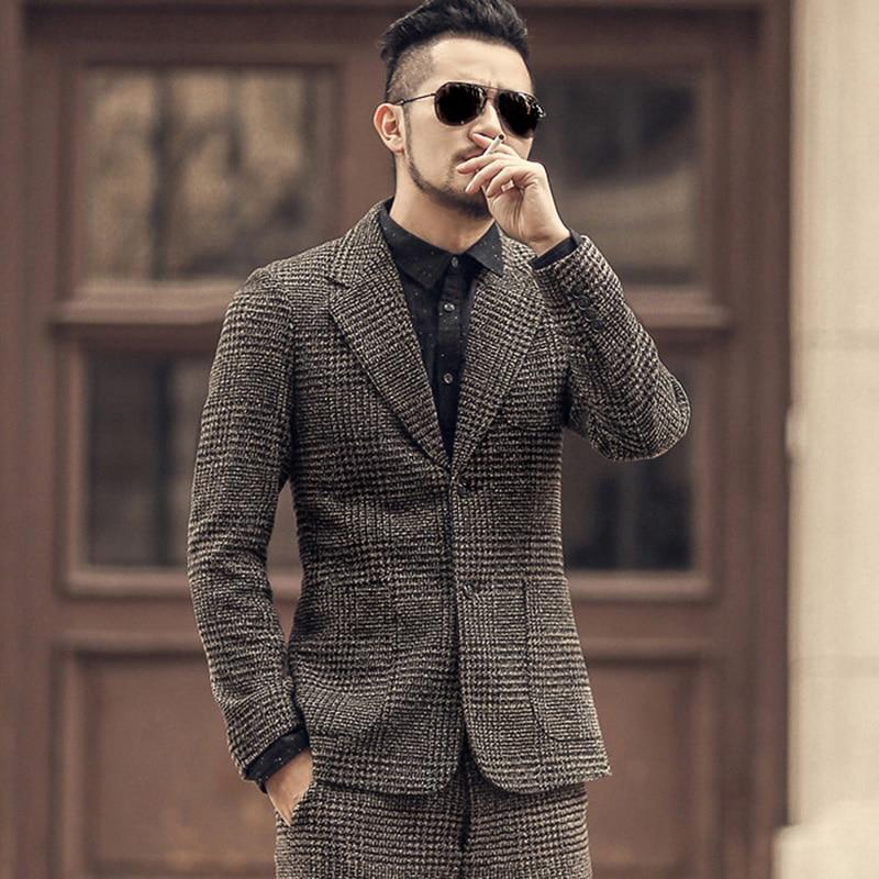 Winter Men New Earth Color Woolen Plaid Slim Leisure Suit Metrosexual Man Casual European Style Brand Fashion Suit Jacket F196-2