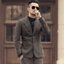 Winter men new earth color woolen plaid slim leisure suit metrosexual man casual European style brand fashion suit jacket F196 2
