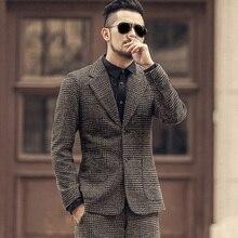 겨울 남자 새로운 지구 색상 모직 격자 무늬 슬림 레저 정장 metrosexual 남자 캐주얼 유럽 스타일 브랜드 패션 정장 재킷 F196 2