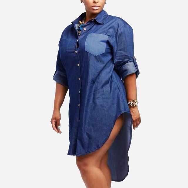 361b5da0e8b Oversized 2018 Spring Autumn Women Denim Vintage Turn-down Collar Long  Sleeve Asymmetrical Hem Long Jeans Blouse Shirt Plus Size