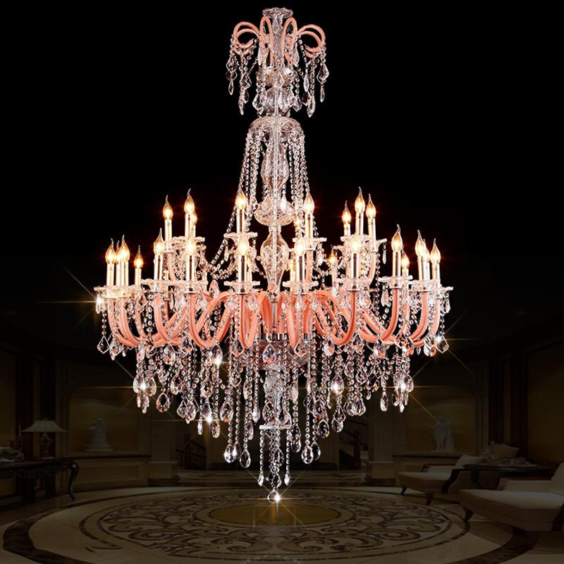 Grand Hall 30 lamps Led lamparas large church chandelier Crystal lighting multi color pink clear chrome long luxury chandeliers