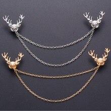 Unisex Men Women Deer Brooch Pins Suit Boutonniere Collar Lapel Enamel Pin Animal Chain Brooches Accessories XR270