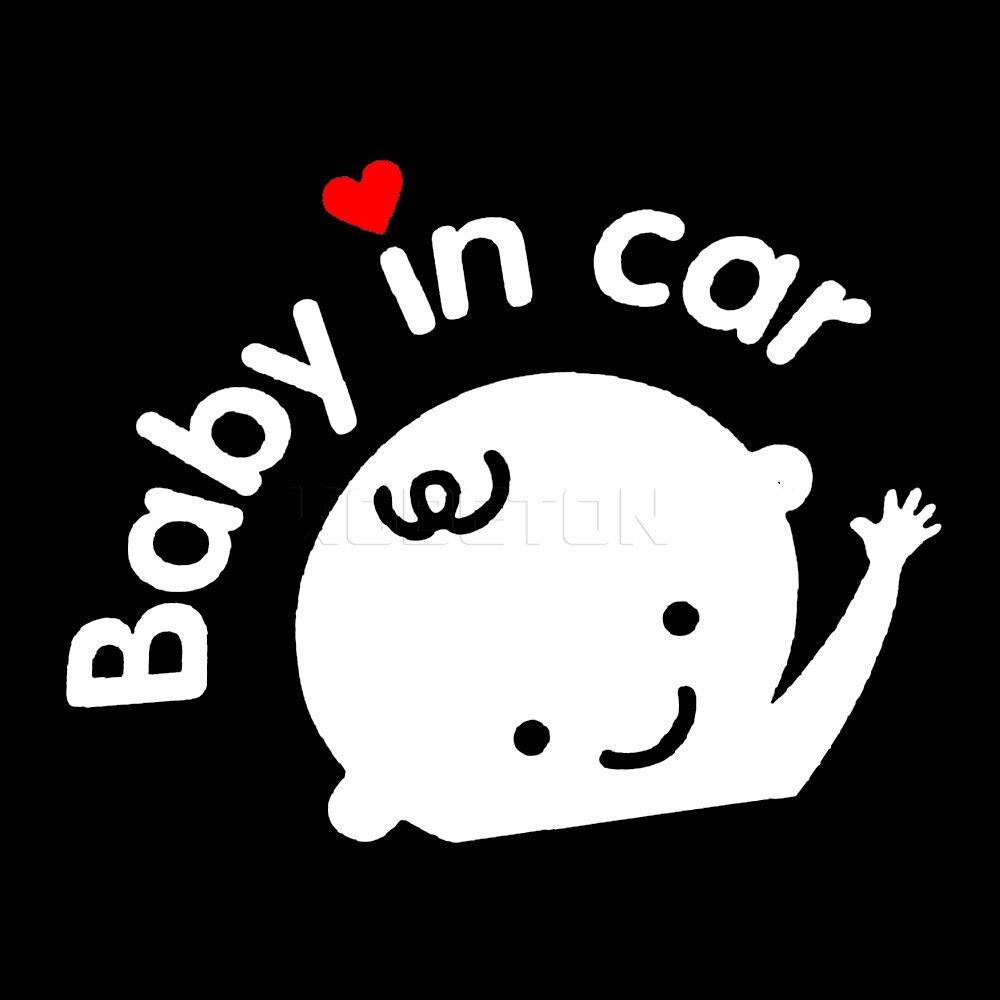 Sikeo Cartoon Car Sticker Boy Girl With Bow Baby In Car On Board