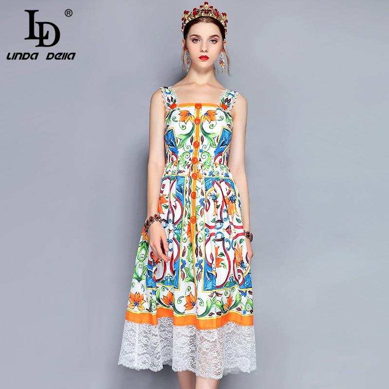 LD LINDA DELLA Fashion Runway Summer Dress Women s Spaghetti Strap Lace Patchwork Gorgeous Floral Printed