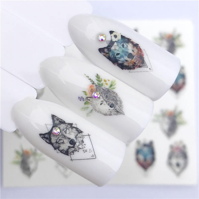 YWK 2019 NEW Designs Wolf/Vintage/Flamingo Noble Necklace Nail Art Water Decals