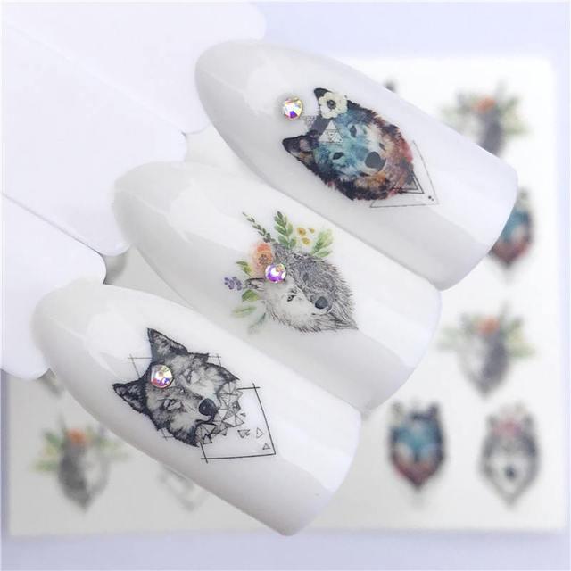 YWK 2019 nuevos diseños Lobo/Vintage/flamenco Noble collar uñas arte agua calcomanías transferencia pegatina manicura decoración de uñas