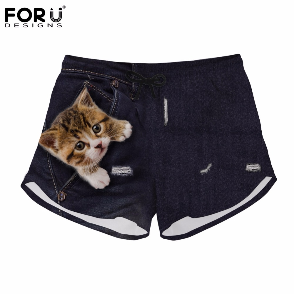 FORUDESIGNS Shorts Women Denim Cute Animal Cat Brand Womens Pants Beach Summer Jeans Style Short for Girls Female