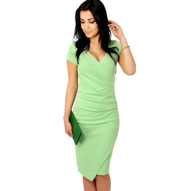 2017 Women summer sexy Bodycon Dress Office Work Wear Short Sleeve Formal  Vintage Knee Length Elegant Black Pencil dress L204 9387e97feb1e