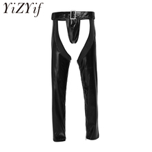 YiZYiF Gay Mens Sexy Lingerie Fuax Leather Stretchy Crotchless Zippered Tight Pants Leggings Hollow out Trousers with G string