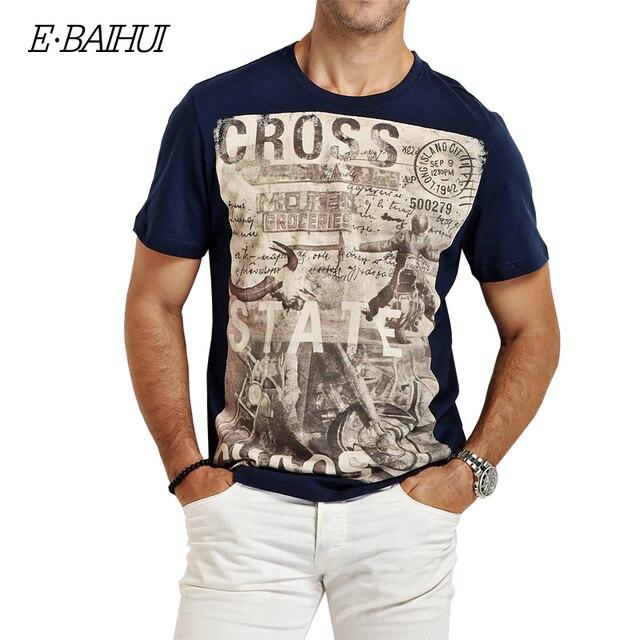 E-BAIHUI estilo da marca de Verão Dos Homens Roupas de Algodão Camisetas casuais T-Shirt t-shirt dos homens de Fitness tops Tees Skate Moleton Y032