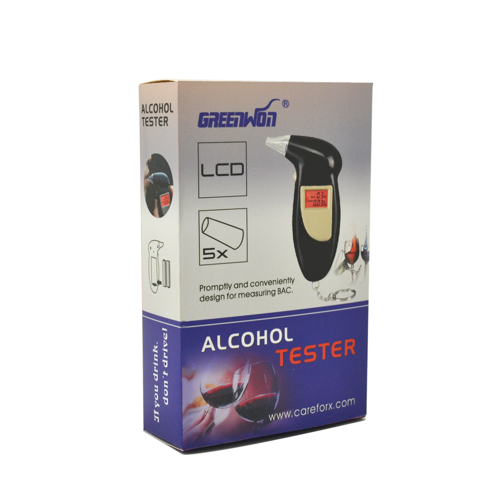 GREENWON High Accurate Digital Breathalyzer Alcotest Alcohol Breath Analyzer Tester Professional with 5 Mouthpieces 100% brand new abs material black color digital keychain breathalyzer fit alcohol tester with red backlight pft68s