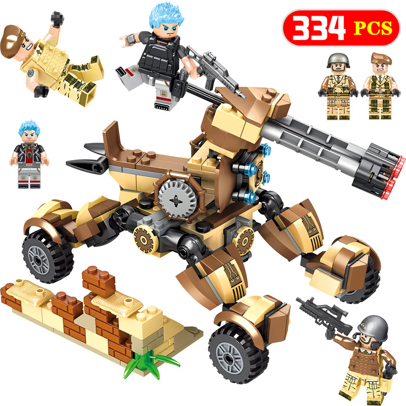 New Military Battlefield Compatible Legoingly Walking Fortres 334 Pcs Bricks Blocks Model Building Enlightenment Child Toys Gift