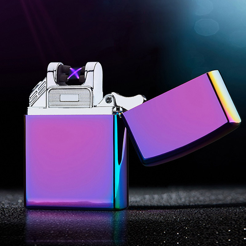 Creative Secure Electronic Cigarette Lighters Metal Pulse Single Arc USB Charging Windproof Rechargeable Flameless Cigar Lighter