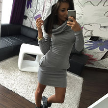 Fashion Women Dress With Hat Solid Color Long Sleeve Pocket Keep Warm Ladies Girl Casual Dresses